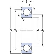 Гибридные однорядные радиальные шариковые подшипники - 6006-2RZTN9/HC5C3WT